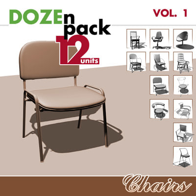 3d model of 12 chairs