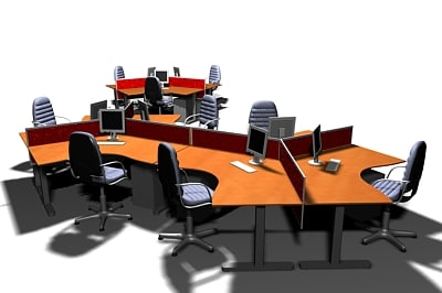 open office workstation 3d max