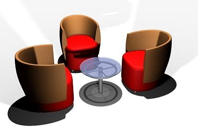 tub chair table 3d model