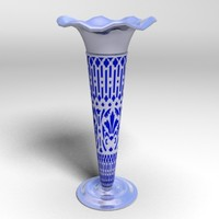 3d model silver blue flower vase