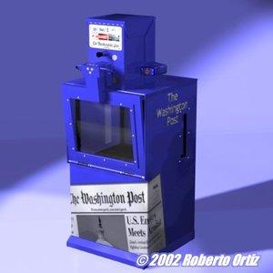 3d hi-rez post newspaper box model