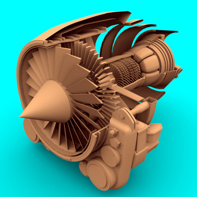cutaway view jet engine 3d model