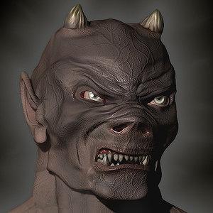 realistic devil head 3d model