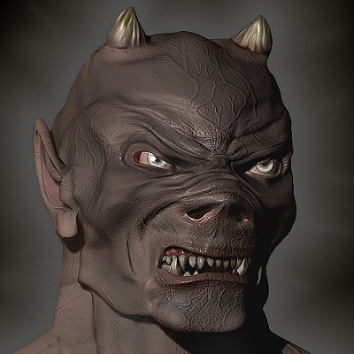 realistic devil head 3d model
