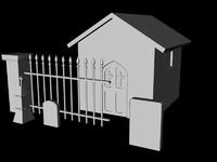 graveyard fence mausoleum 3d obj