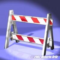 free a-frame barricade modelled 3d model