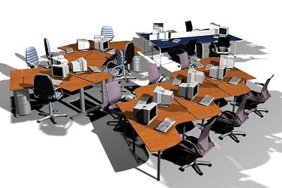 3d office workstation pack model
