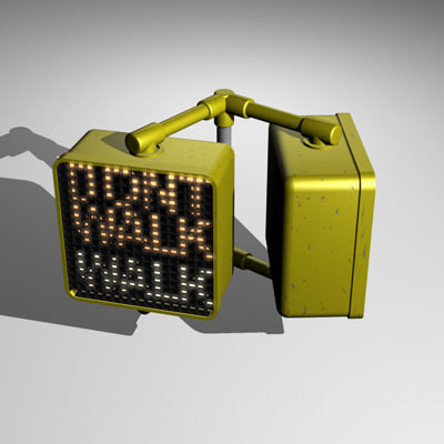 3d model walk sign