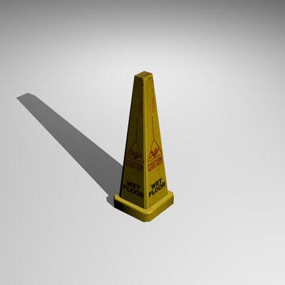 3d model sign wet floor