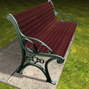 3d cast iron garden bench model