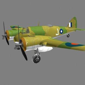3d plane beaufighter