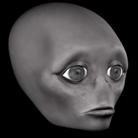 sad alien head 3d 3ds