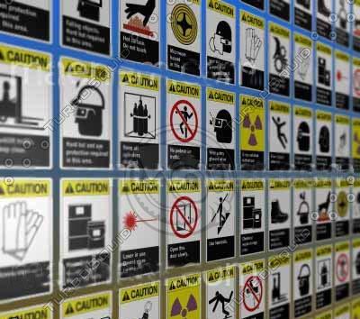 osha caution signs 3d cob
