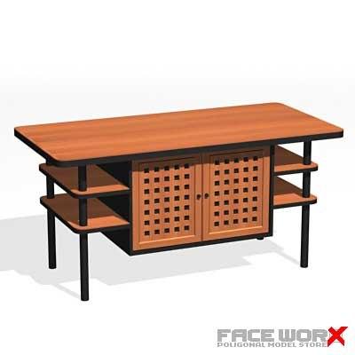 desk kitchen 3d model