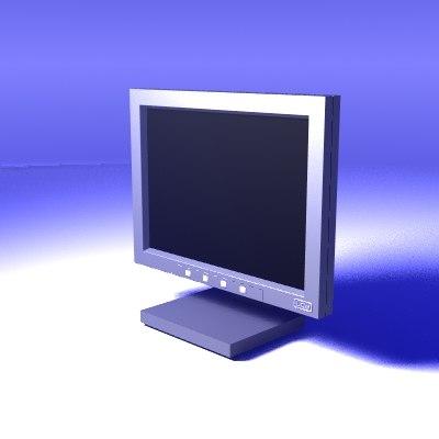 3d lcd flat monitor model