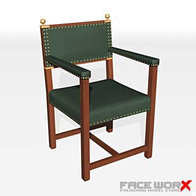 3d model chair military style