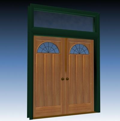 double door entry 3d model