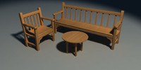chair bench table 3ds