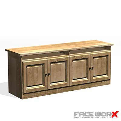 3d model desk kitchen