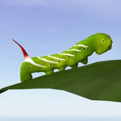 3d model hornworm caterpillar