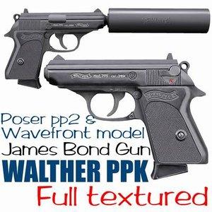 gun walther ppk 3d model