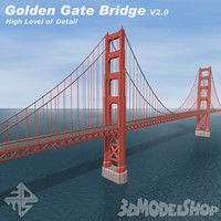 golden gate bridge v2 3d model