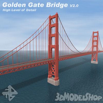 golden gate bridge v2 3d model