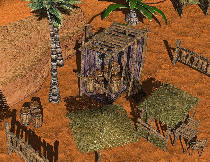 3d beach scene model