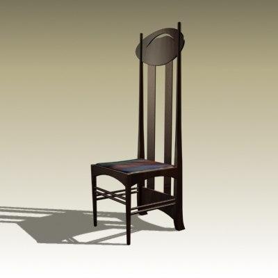 3d charles rennie chair 1