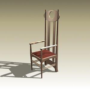 3d model charles rennie chair