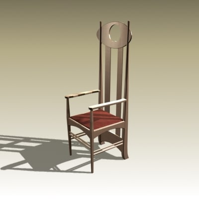 3d model charles rennie chair