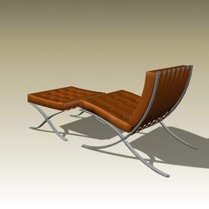 mies van barcelona chair 3d model
