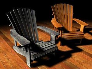 adirondack chair 3d w3d