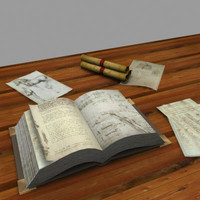 3d book papers scrolls model
