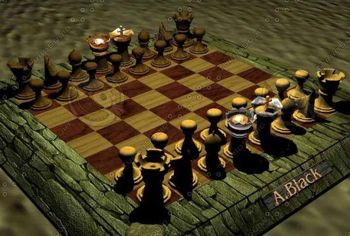 wooden chess 3d model