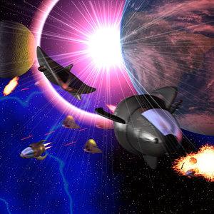 3d model of space scene spaceships
