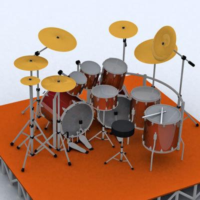 3d model drums kit