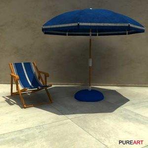 3d model furniture parasol wood