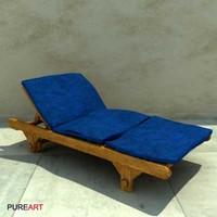 3d furniture deckchair wood