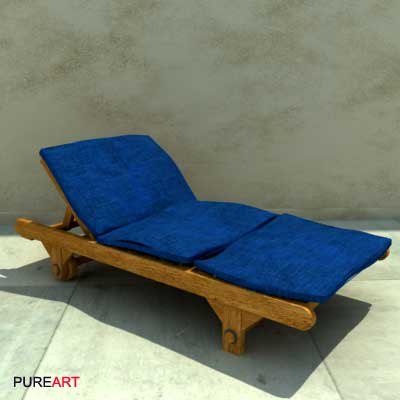 3d furniture deckchair wood