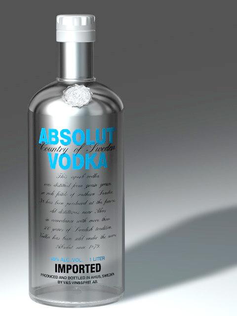 absolut bottle 3d model