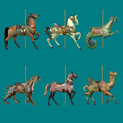 carousel camel horse 3d model