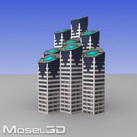 3d model skyscrapers buildings