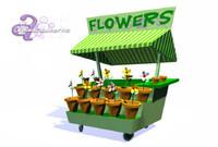 3d flower cart model