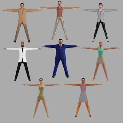 3ds max humans dress res