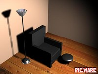 chair lamp ottoman 3d model