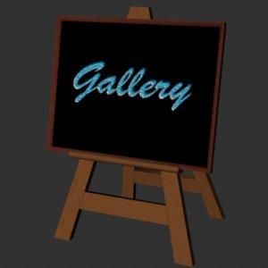 easel blackboard 3d model