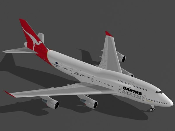 3d b 747-400 qantas airplane