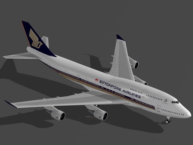 b 747-400 singapore airplane 3ds