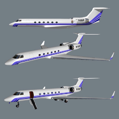 gulfstream v business jet 3d model